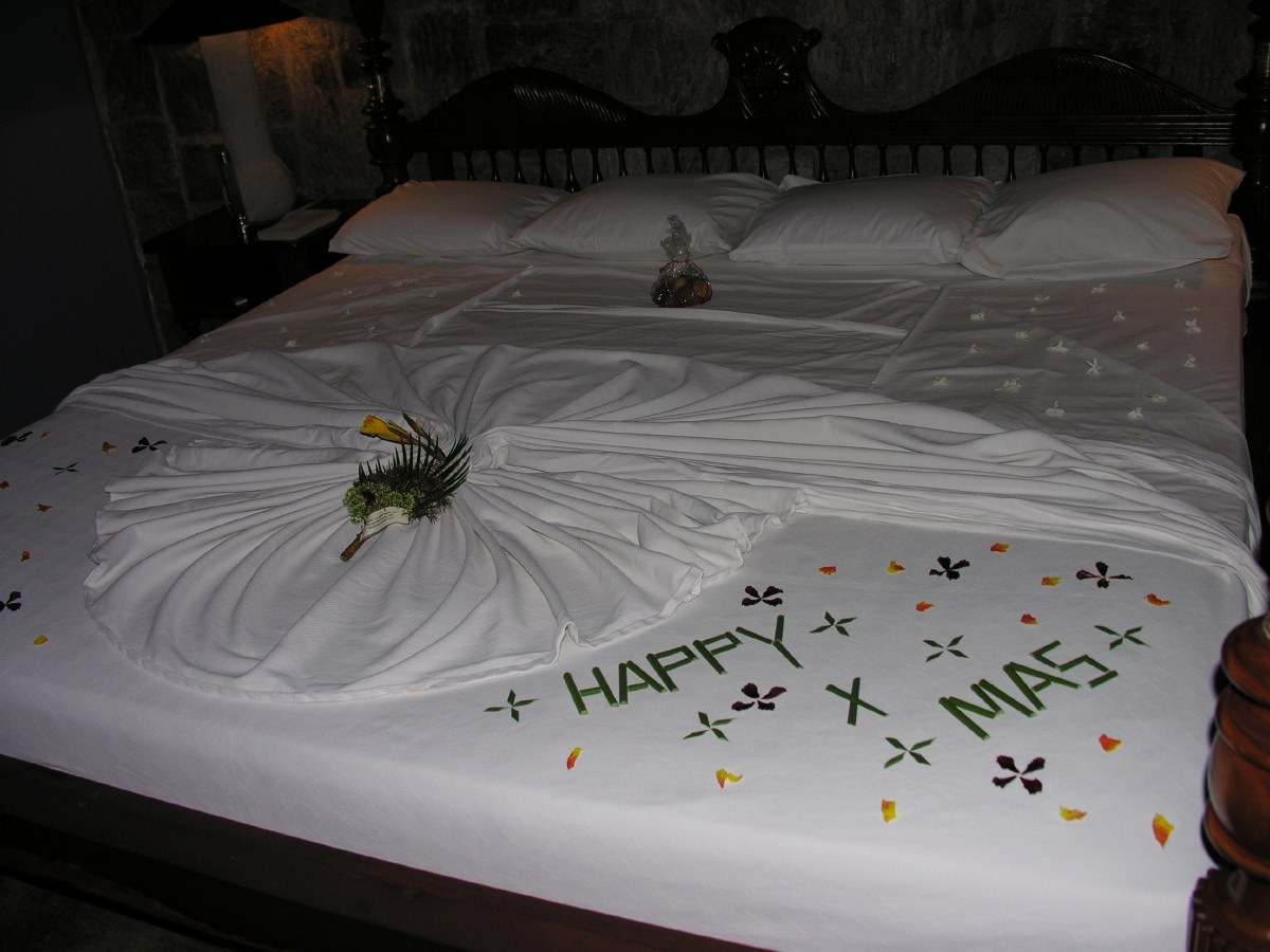 The second night, our bed got decorated again, this time with a special theme design...