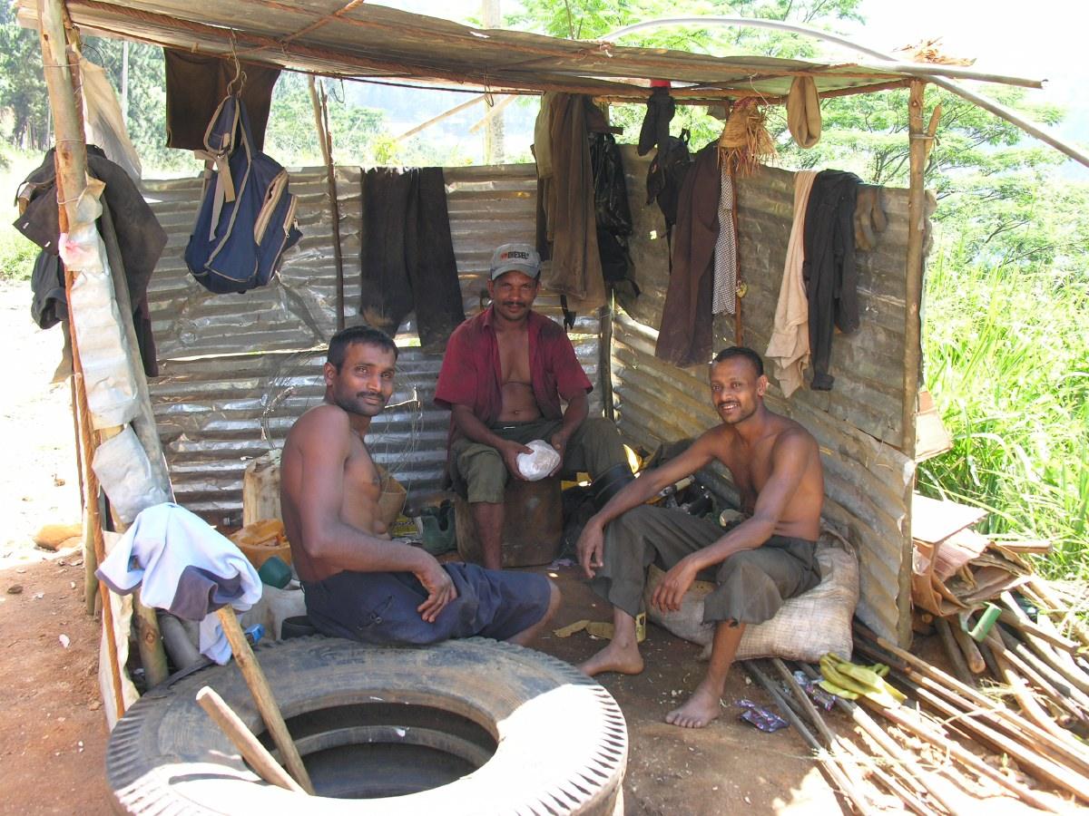 Roadworkers in their den