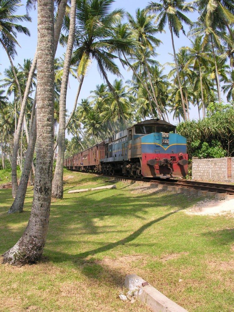 Between the luscious hotel garden and the beach runs a single track railway line... every day, several diesel trains pass by.