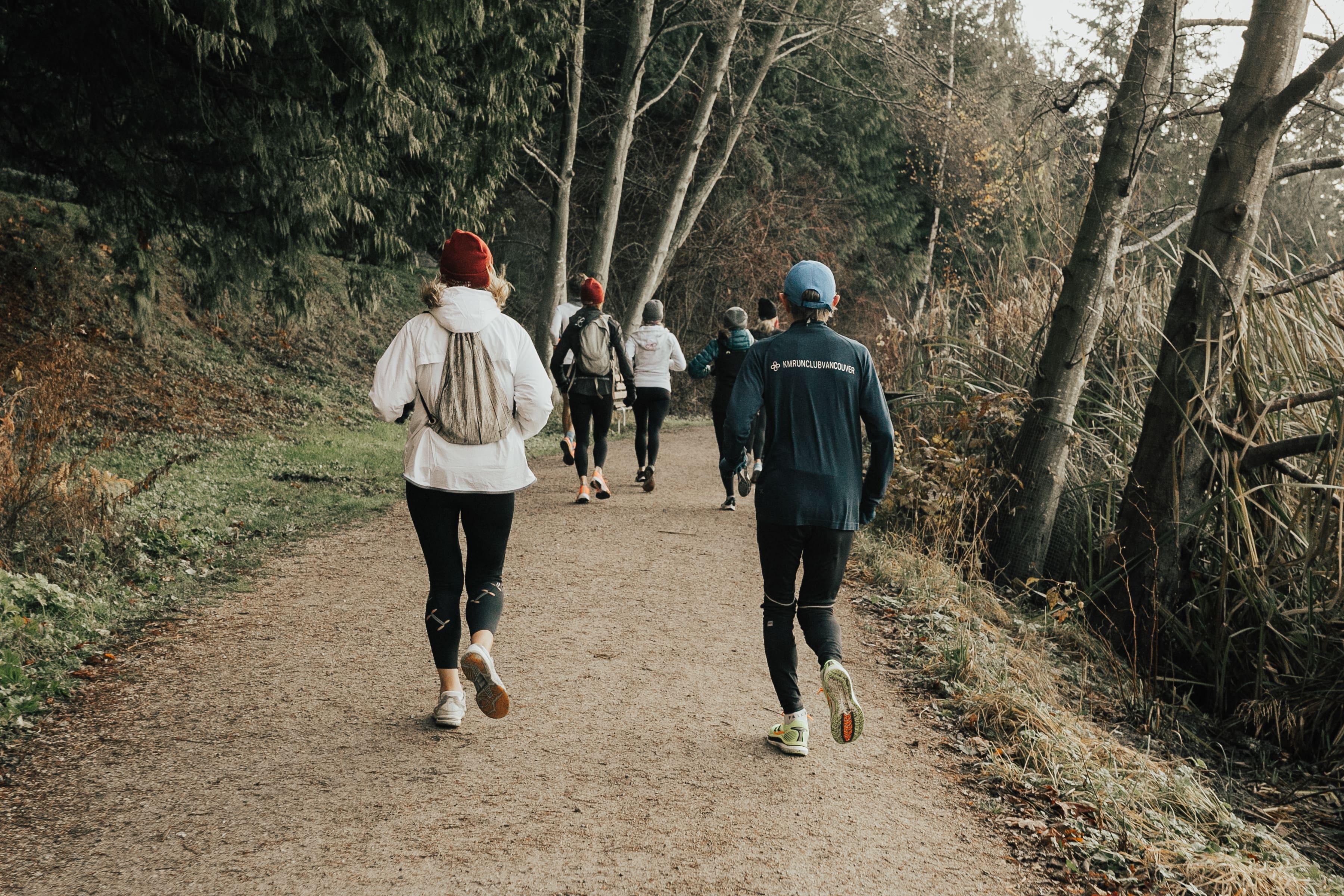 KM members running on path between trees