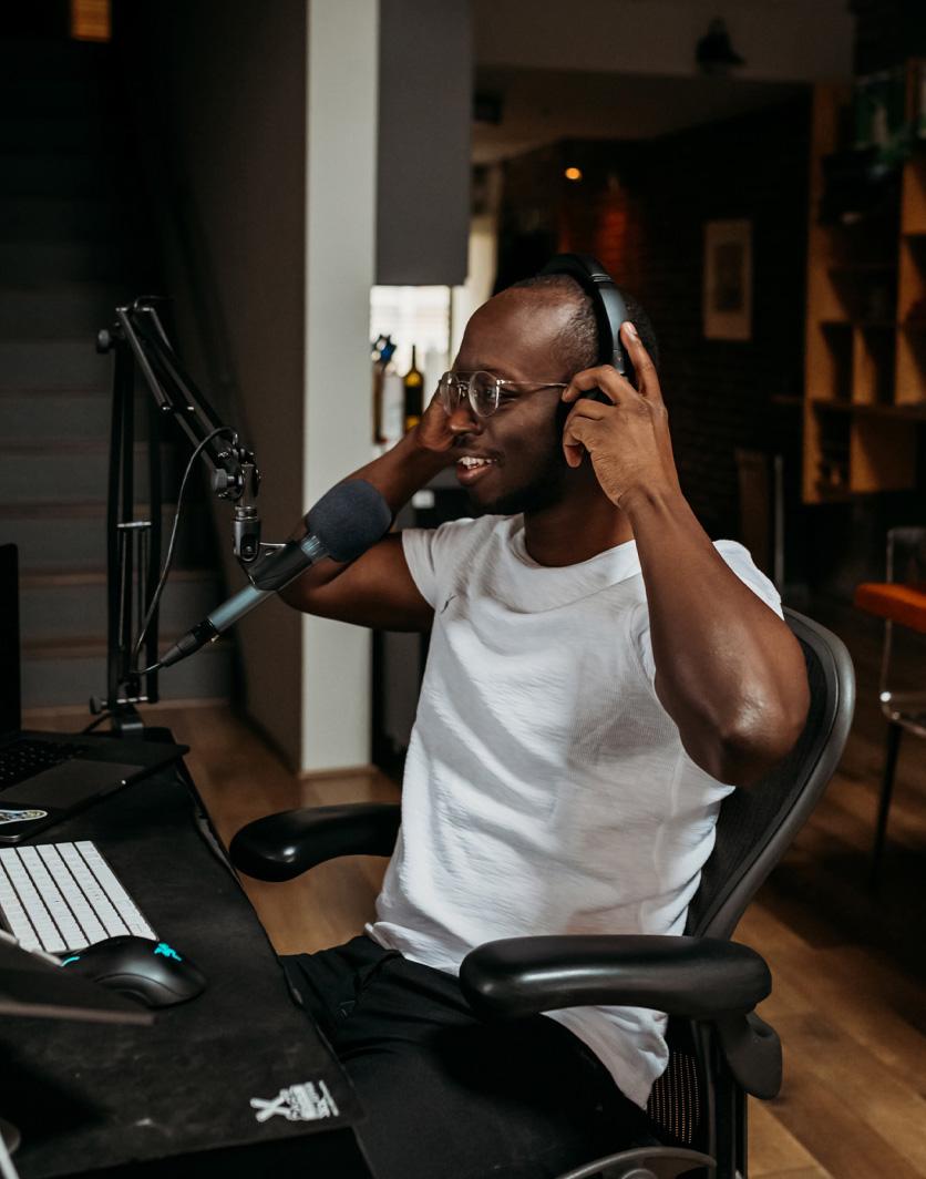 Content creator in their podcast studio