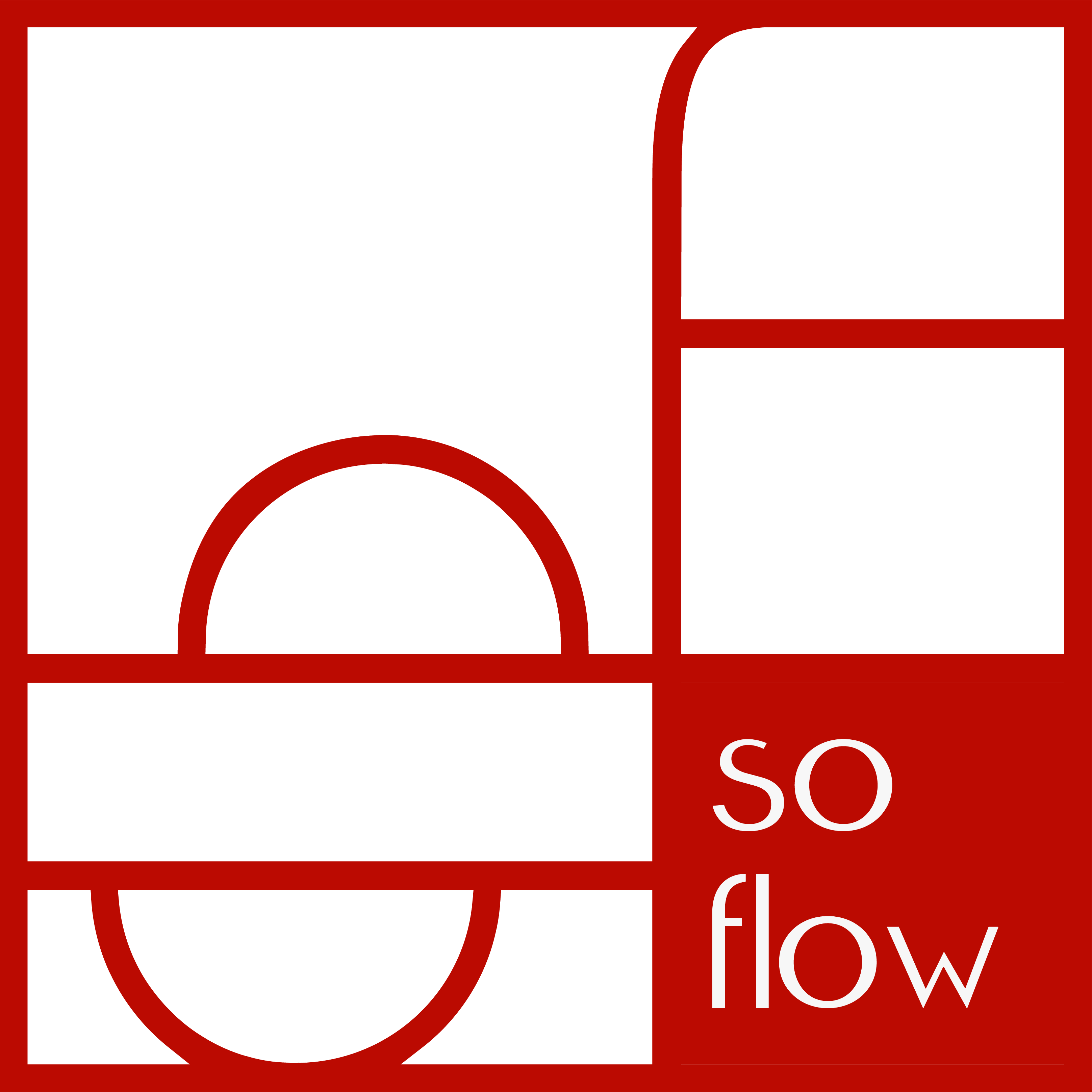 red logo of soflow, professional organizer and job coach