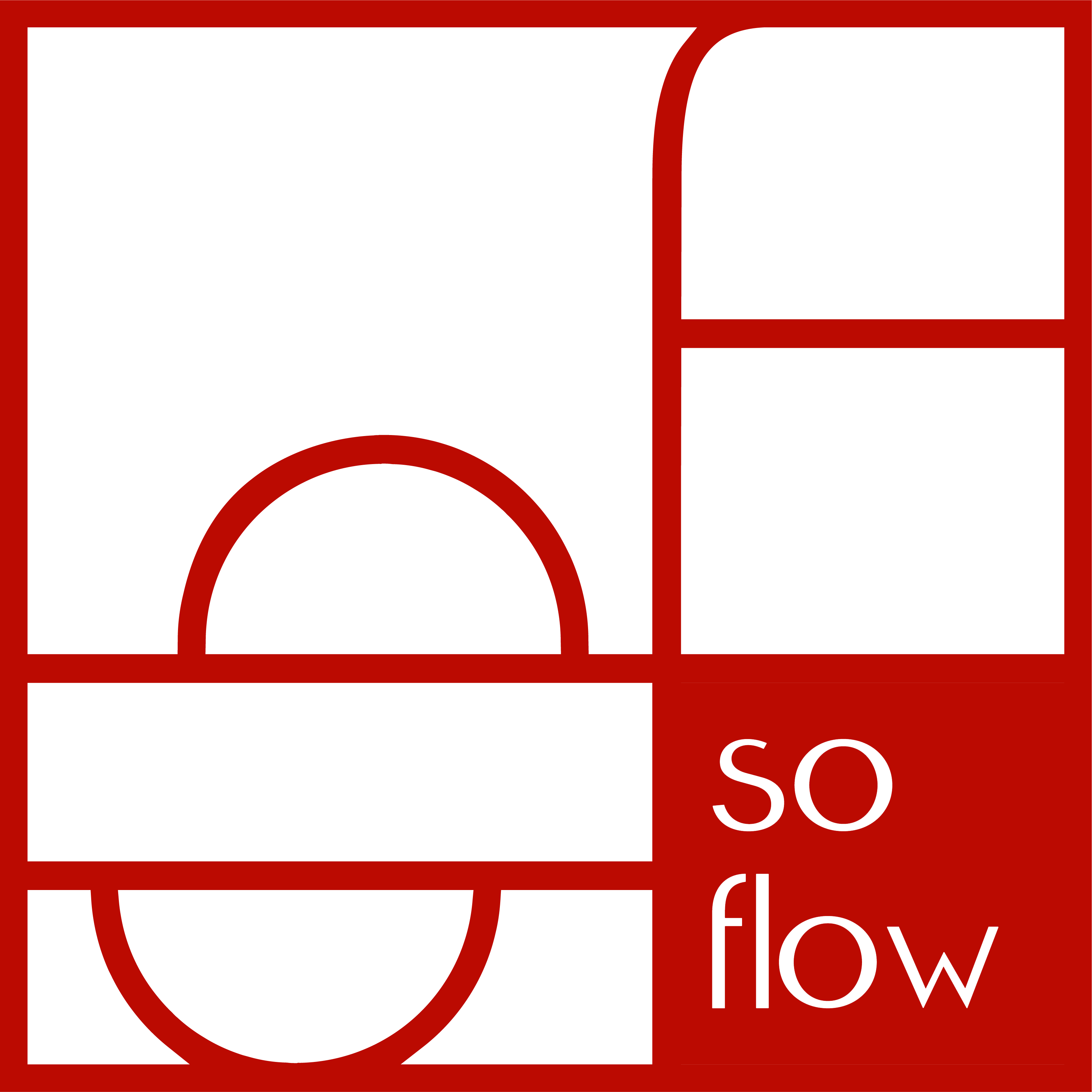 logo of soflow, job coach and professional organizer in red
