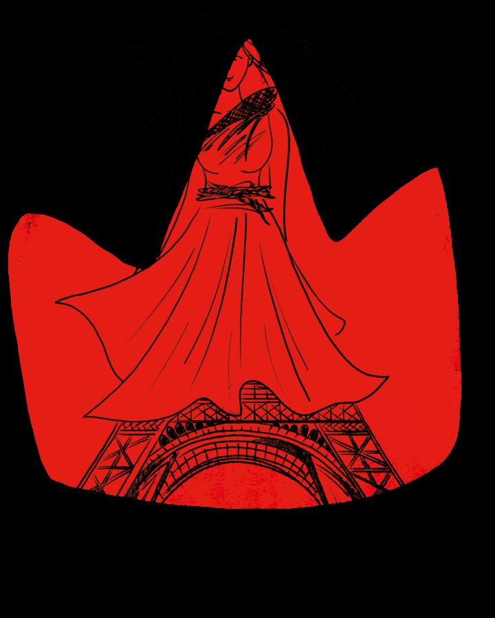 Frau in rotem Kleid - Füße sind als Teil des Eifelturms dargestellt
