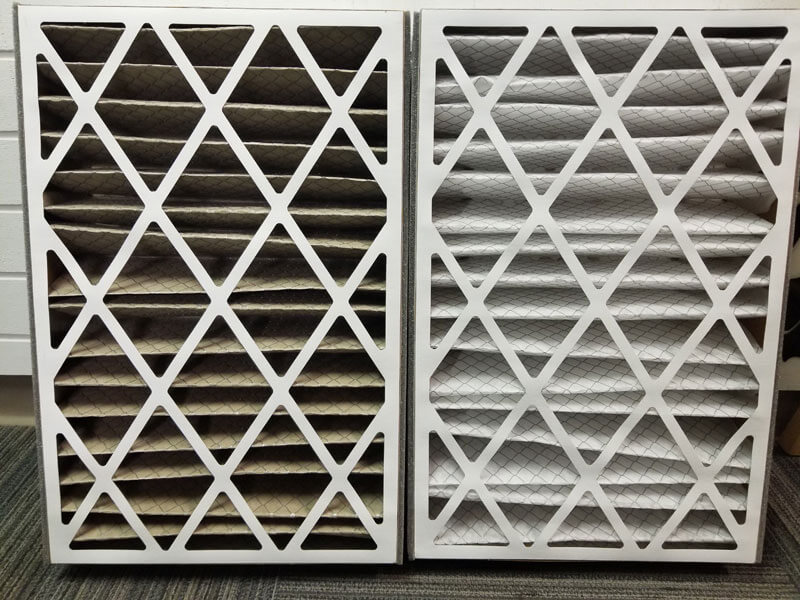 Clean and dirty filters side-by-side
