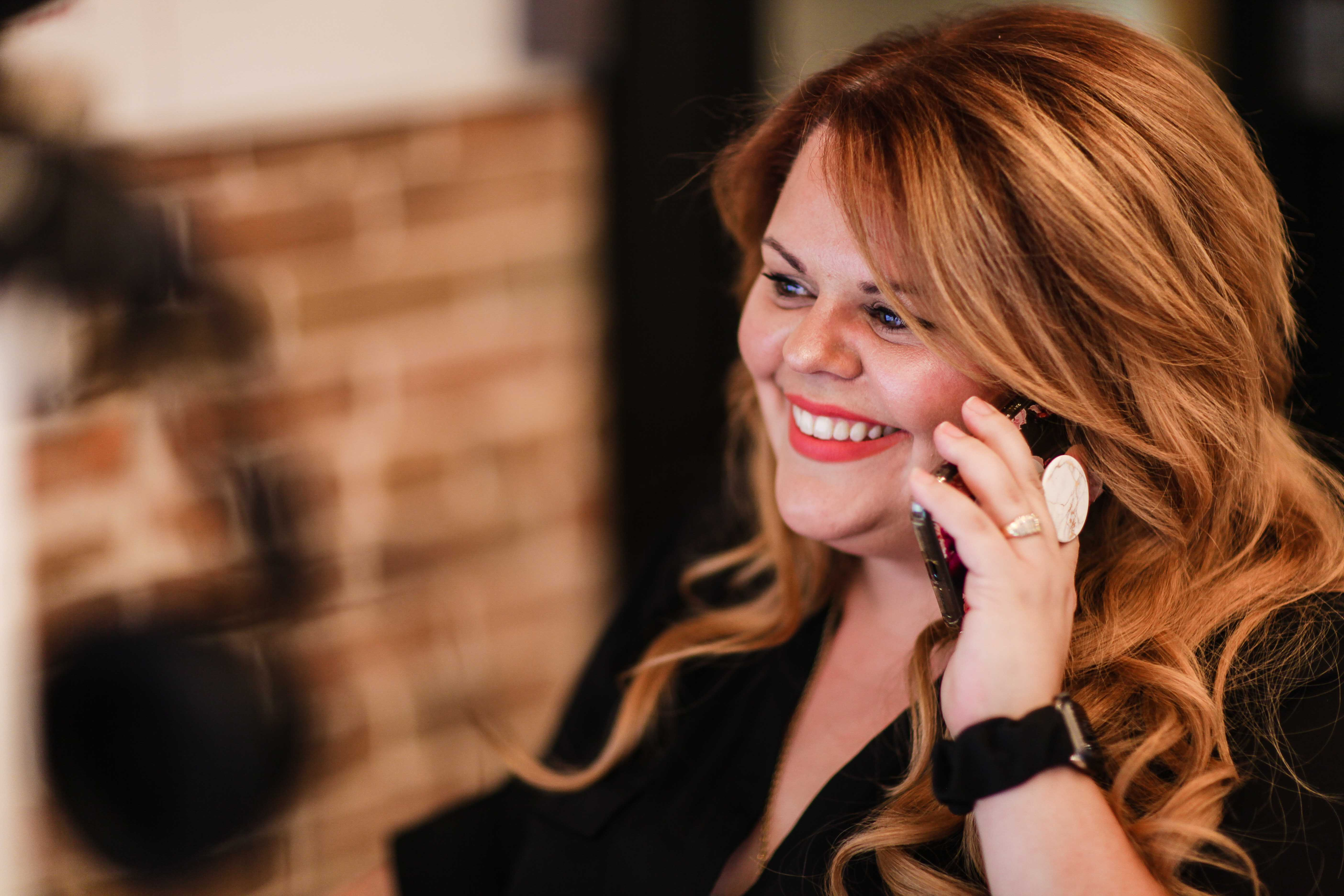 Karine Parthenais on the phone