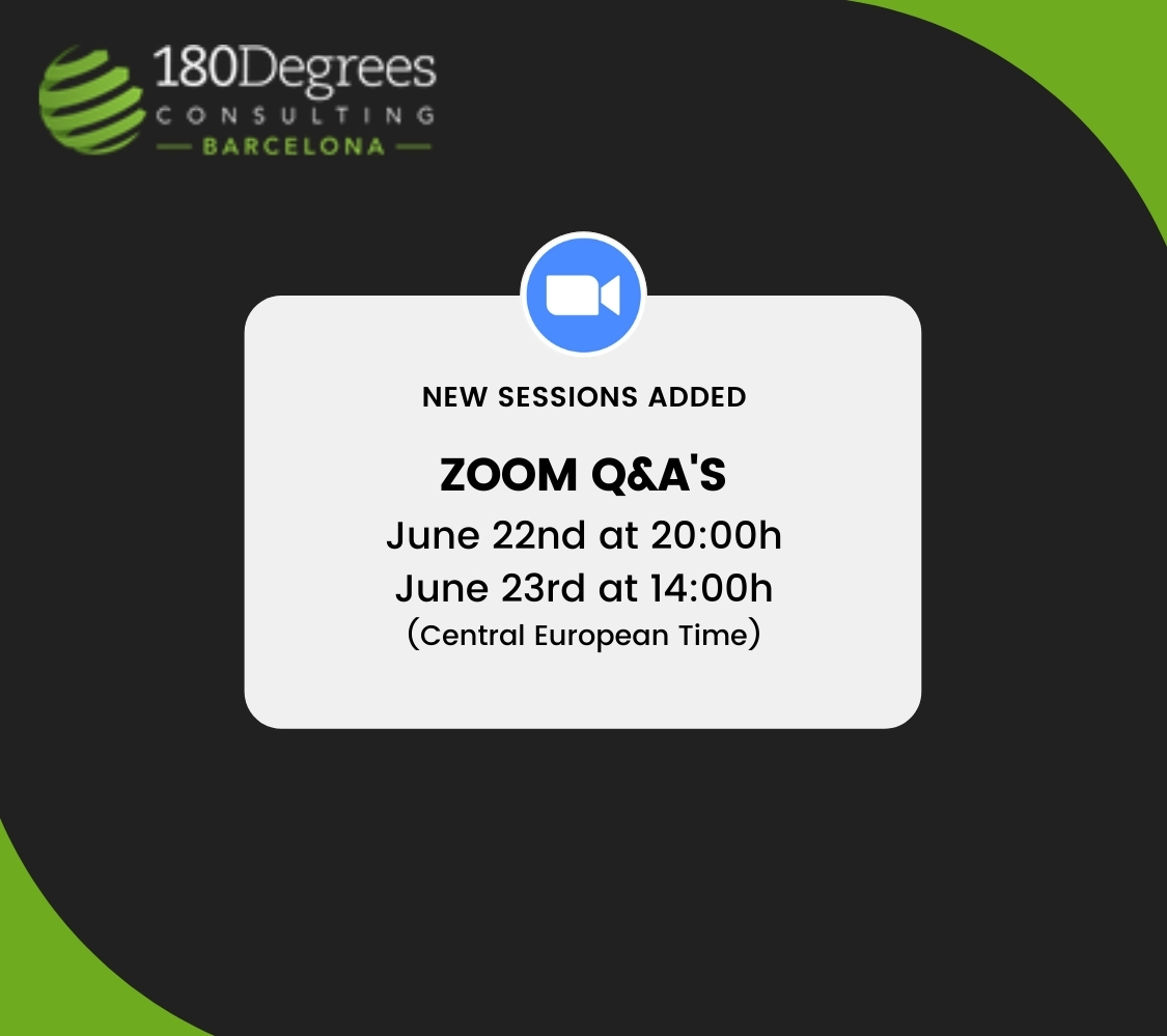 Upcoming Q&A sessions for recruitment 2021 at 180DC Barcelona.