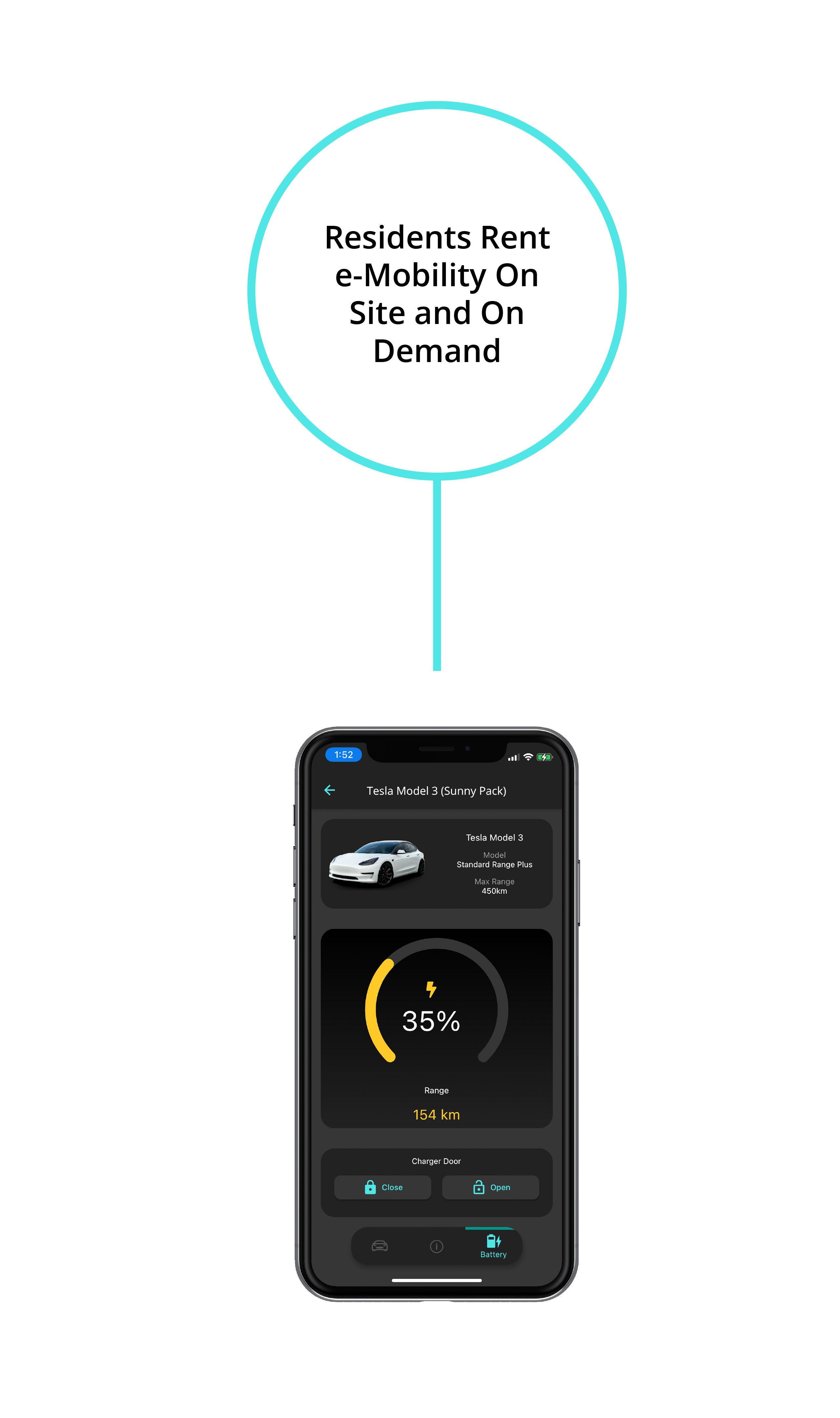 Residents Rent e-Mobility On Site and On Demand above Phone App Showing Tesla Model 3 and Charge Range