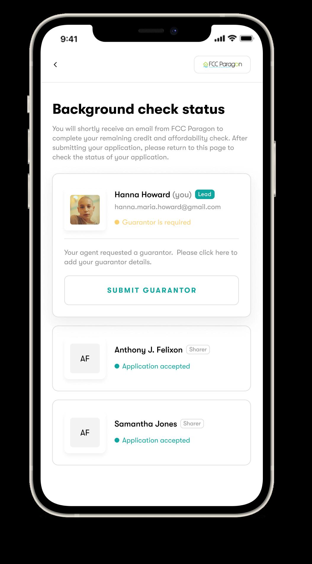 Background check status on Halo.rent app