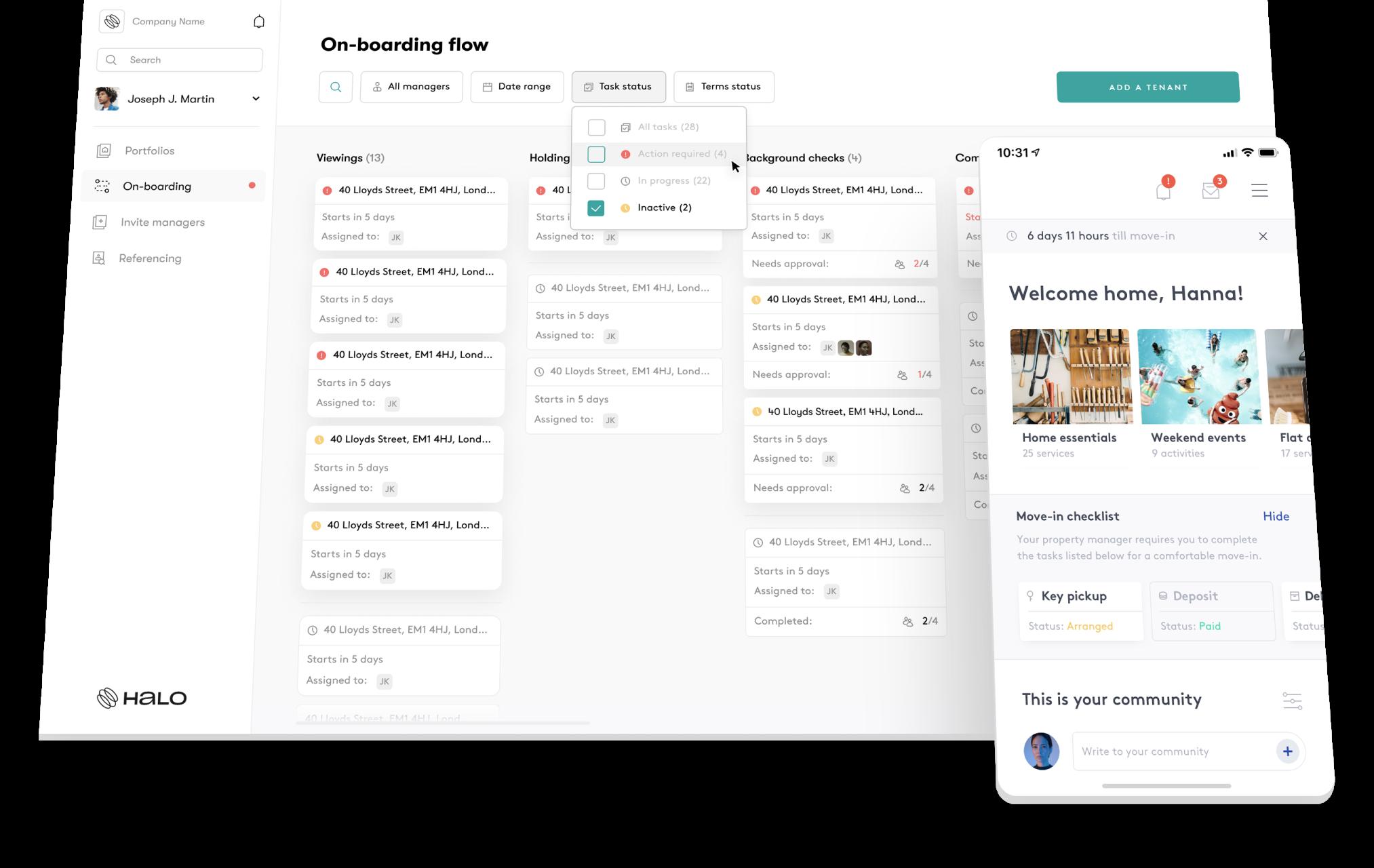 Halo.rent tenant engagement platform