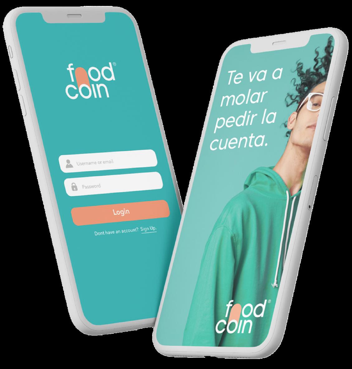 mockup de smartphones con la app de Foodcoin abierta