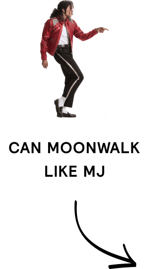 """Image and text that reads """"can moonwalk like MJ"""""""