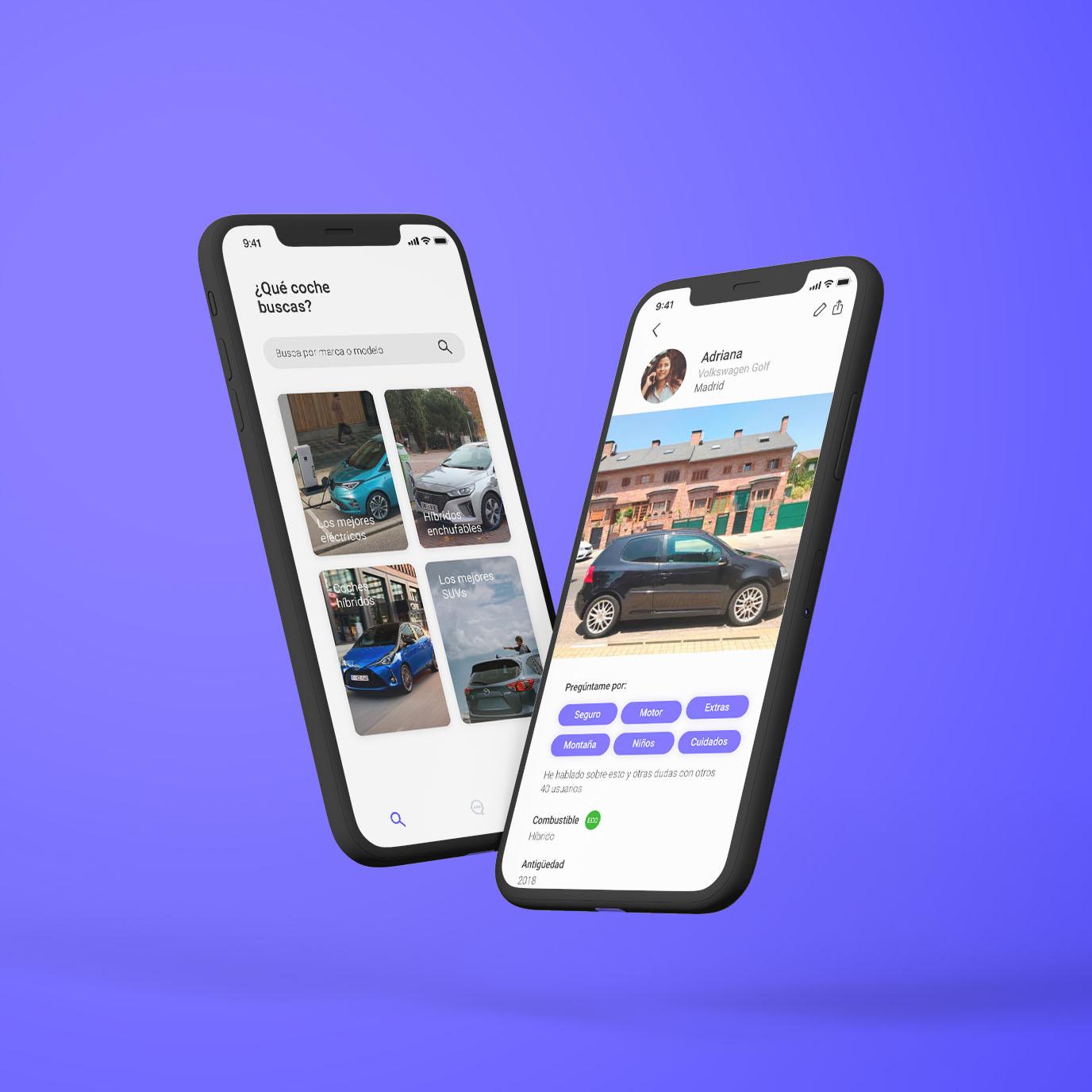 Dos móviles que muestran la aplicación de bemycar.