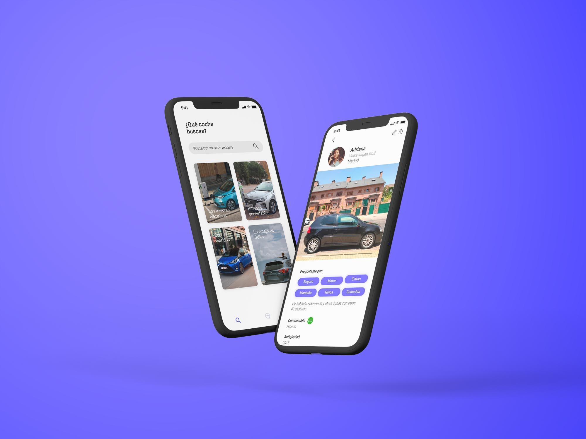 Dos móviles donde se pueden ver la aplicación de bemycar.