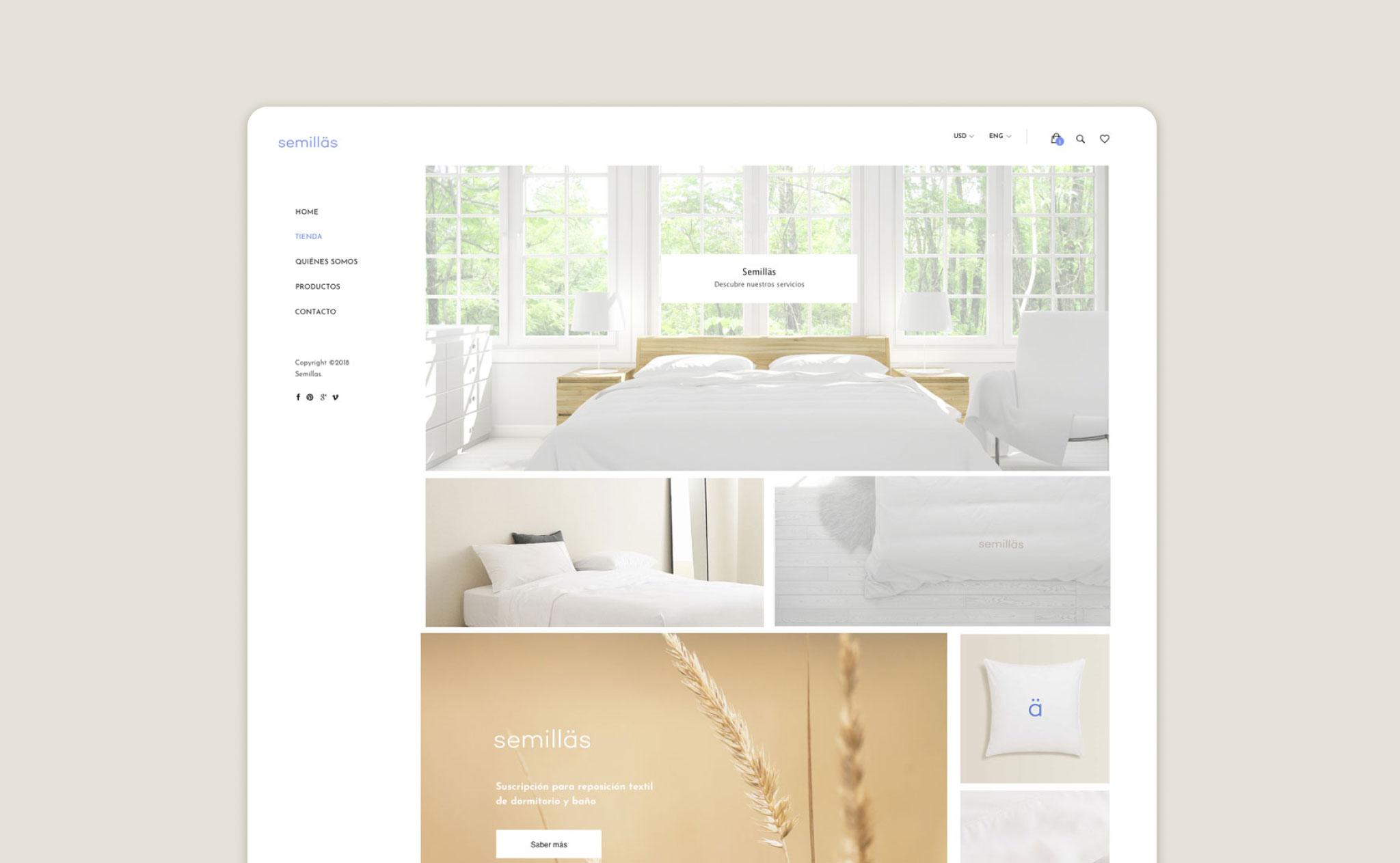 Mockup de la web de Semillas.