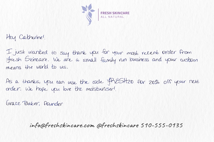 A handwritten note to include in ecommerce order skincare brands