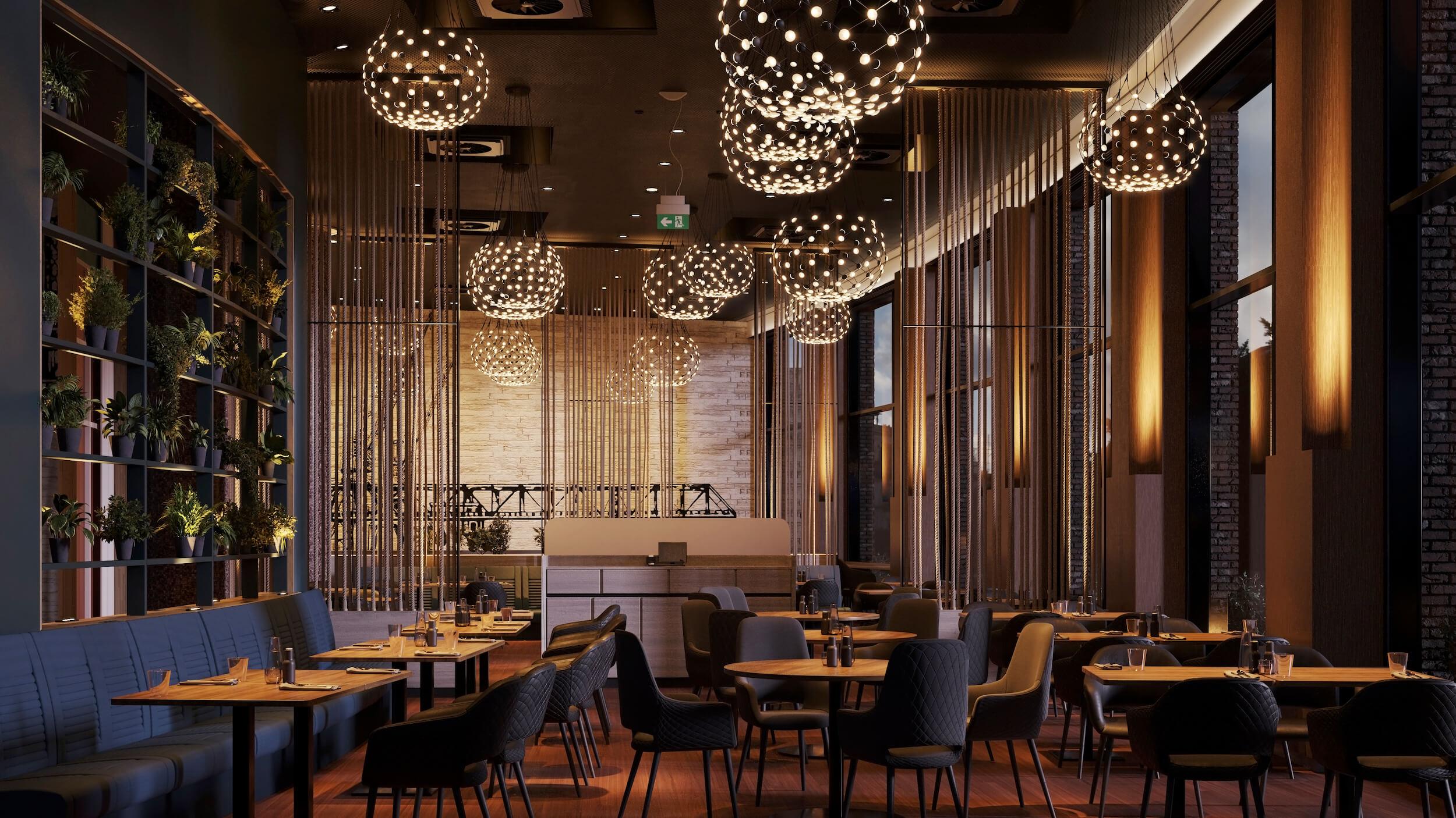 Restaurant 3D Rendering eines Hotels