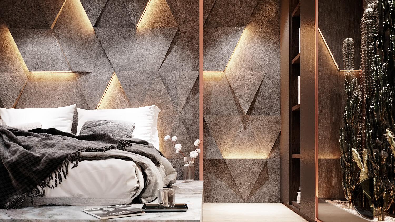 Modernes Schlafzimmer in 3d dargestellt
