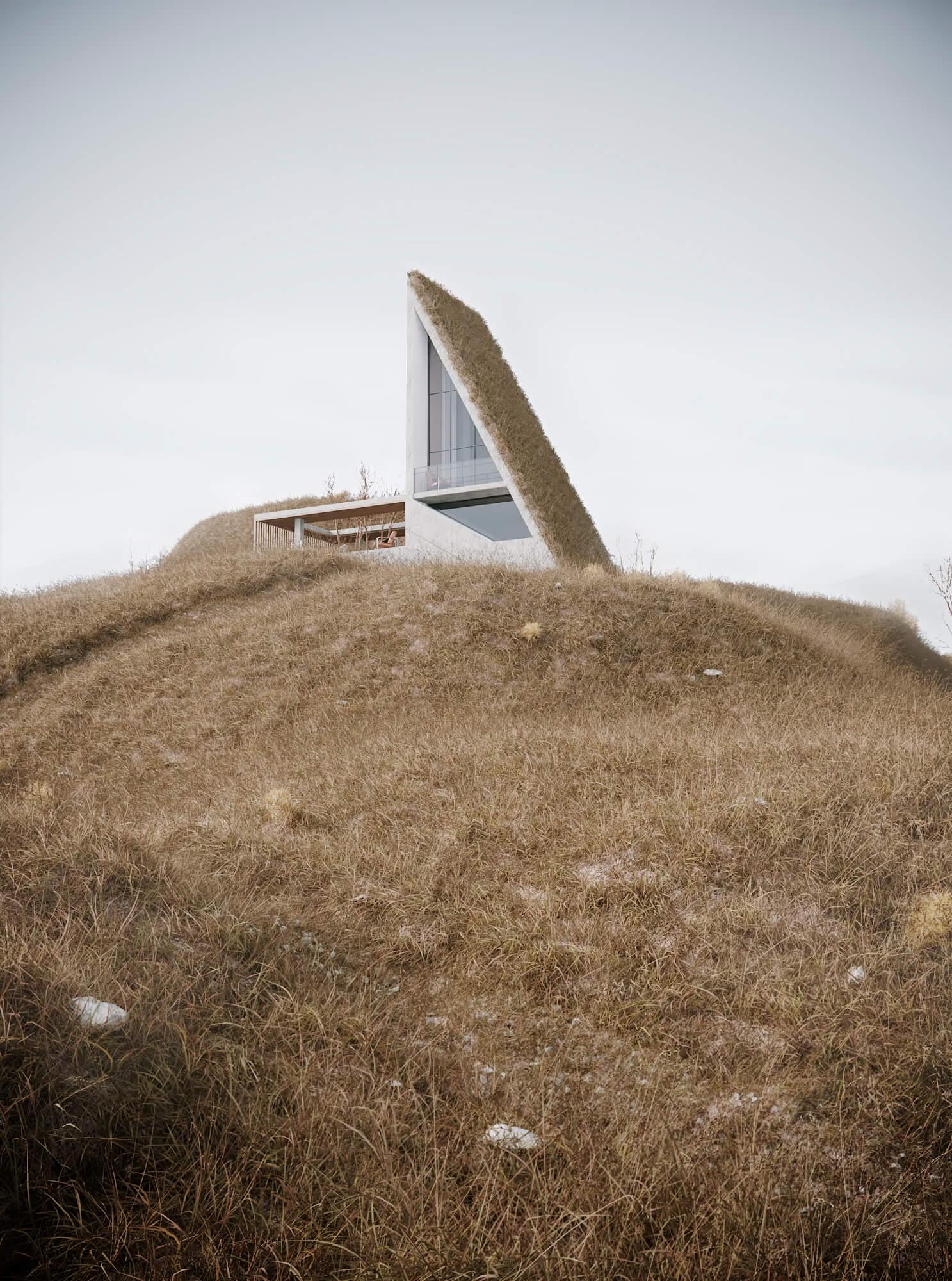 3D Haus in Hügellandschaft