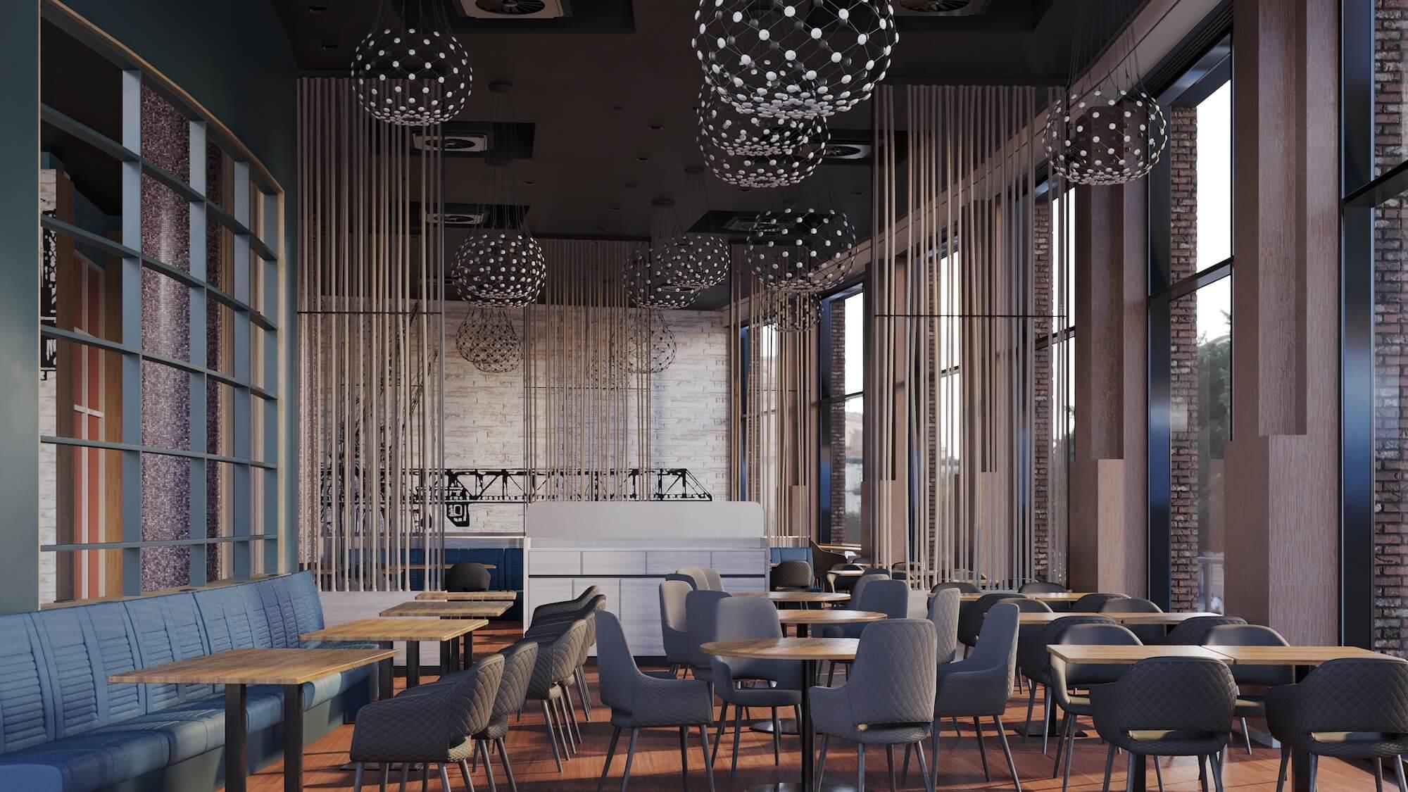 Hotel Rendering mit weniger Licht