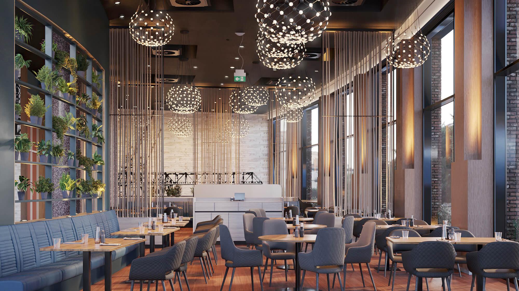 Hotelrestaurant mit professionelle Beleuchtung von einem Lichtplaner