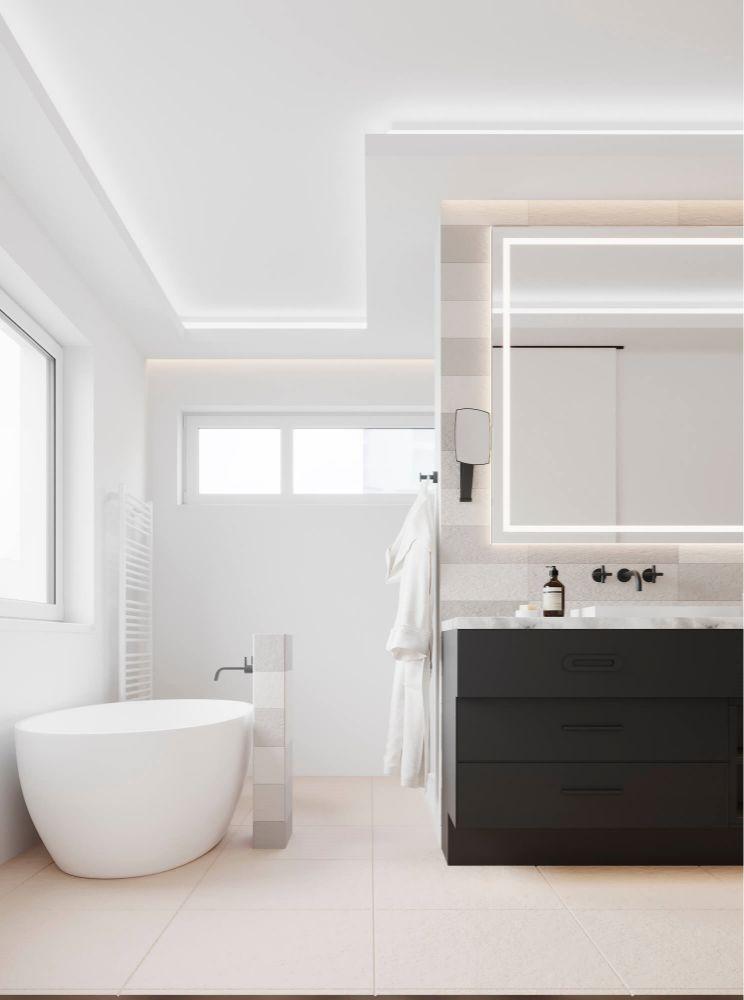 HSK und Badezimmer im 3D Rendering