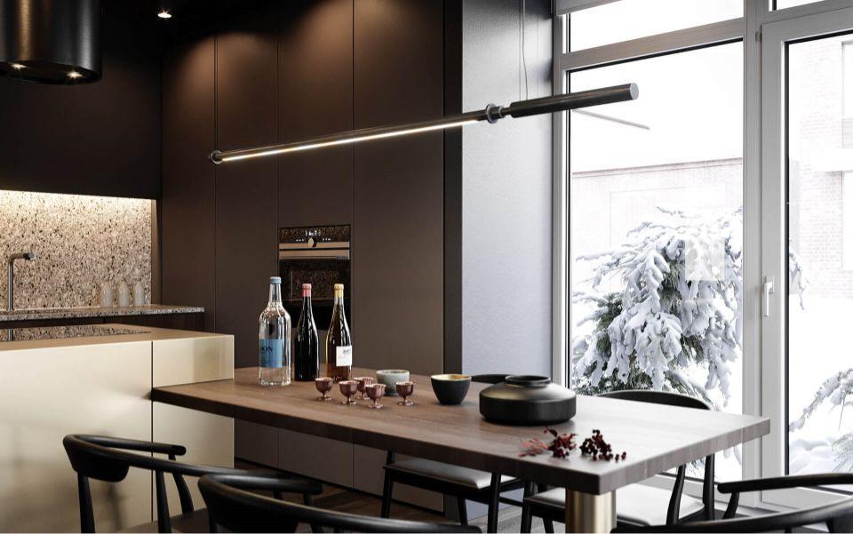 Verschiedene Leuchtobjekte in einer modernen Küche 3D
