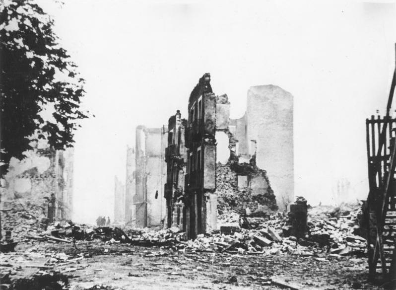 Image of a bombed building in Guernica, Spain