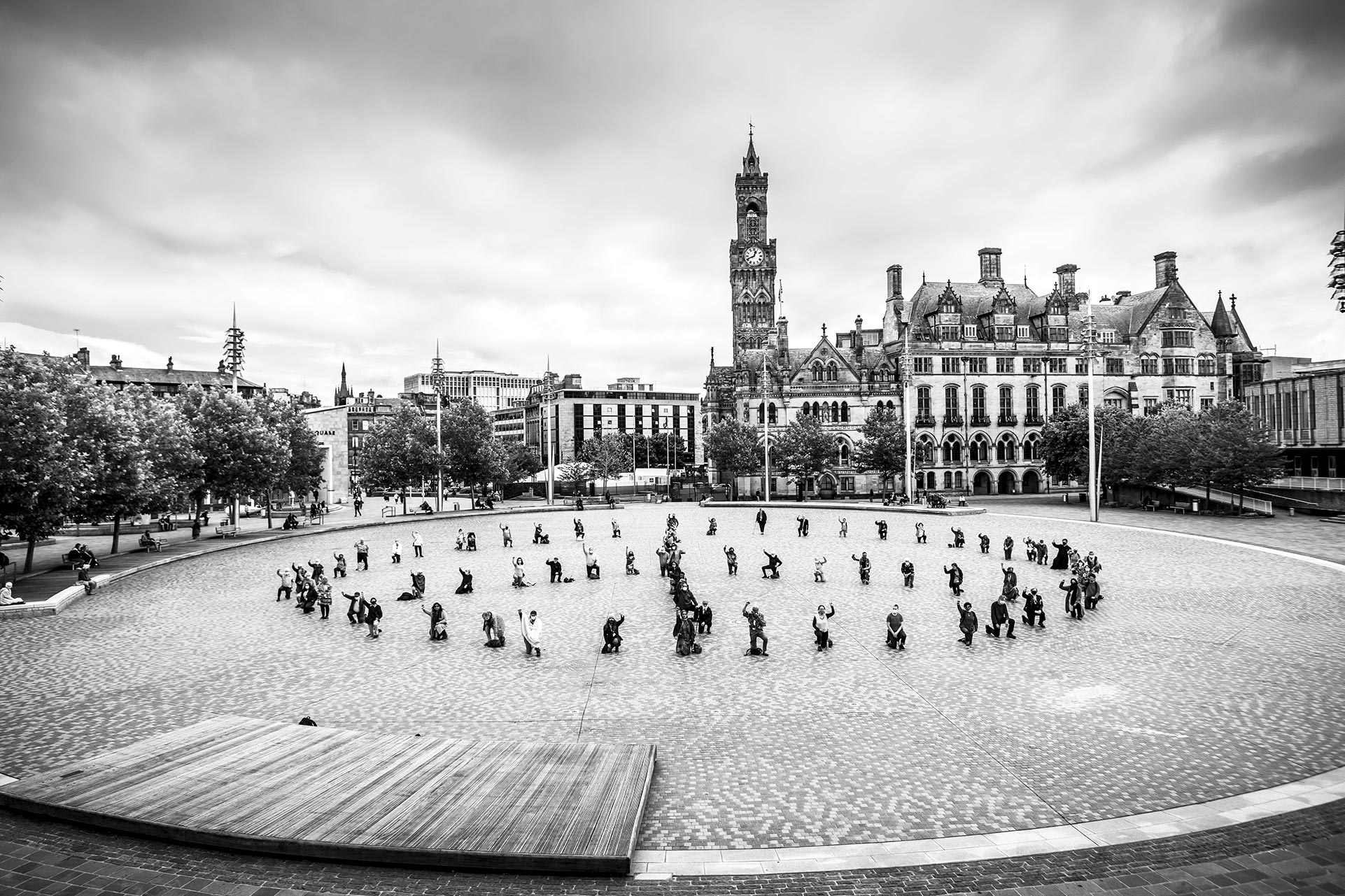 CND campaigners form the shape of the CND logo in Bradford