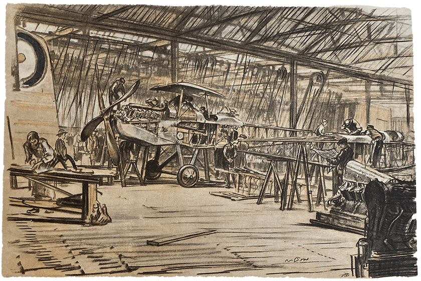 An illustration of a airplane workshop taken from a leaflet about The Western Front.