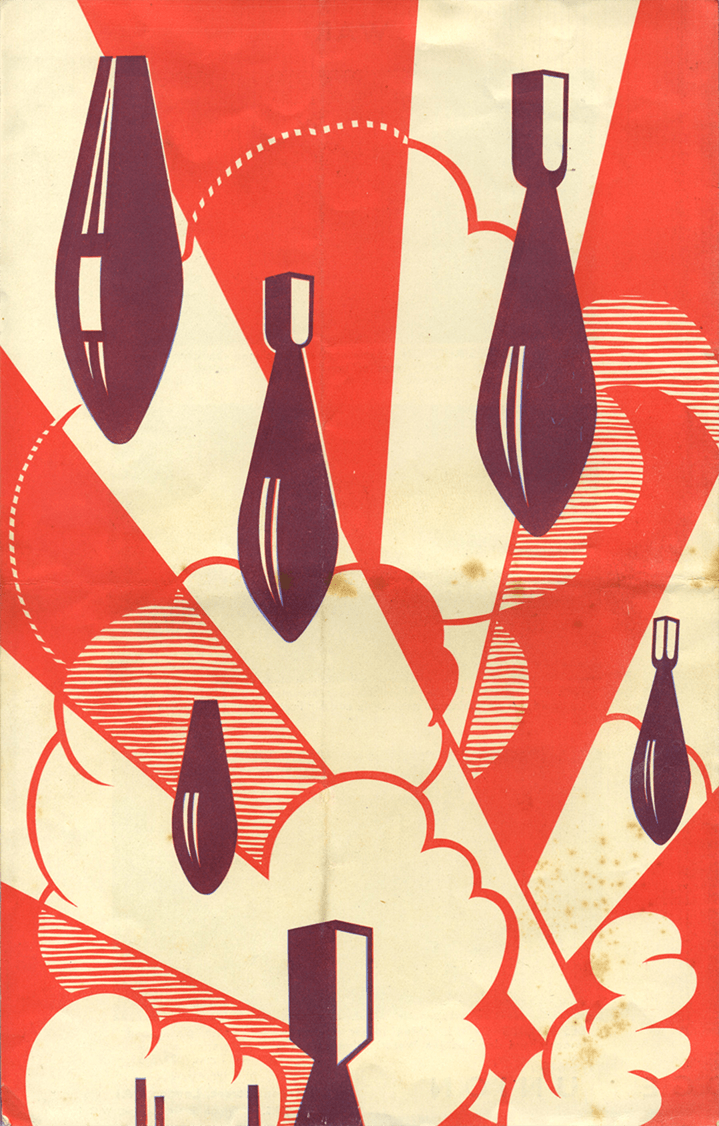 A poster showing several falling bombs.