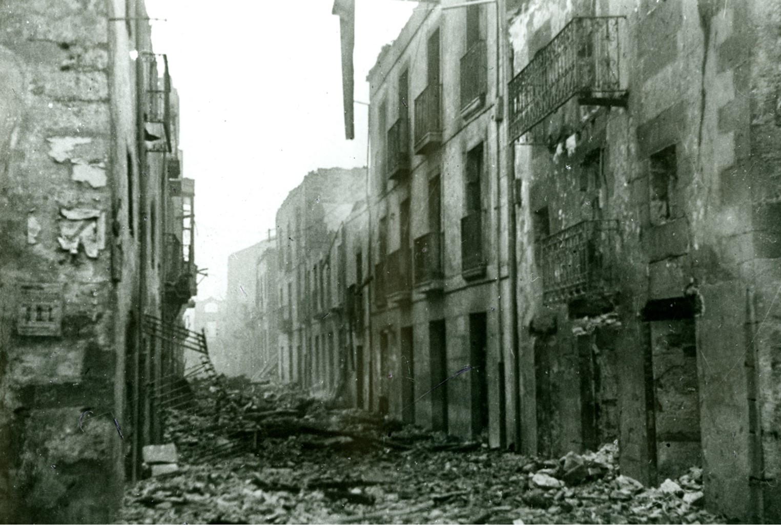 Destroyed streets in Guernica, Spain.