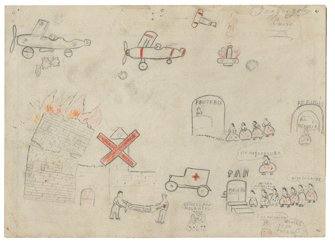 A drawing of the destruction of Guernica by a young child.