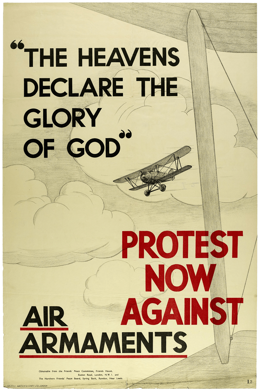 A British poster from the Second World War encouraging people to protest against the use of bombs.