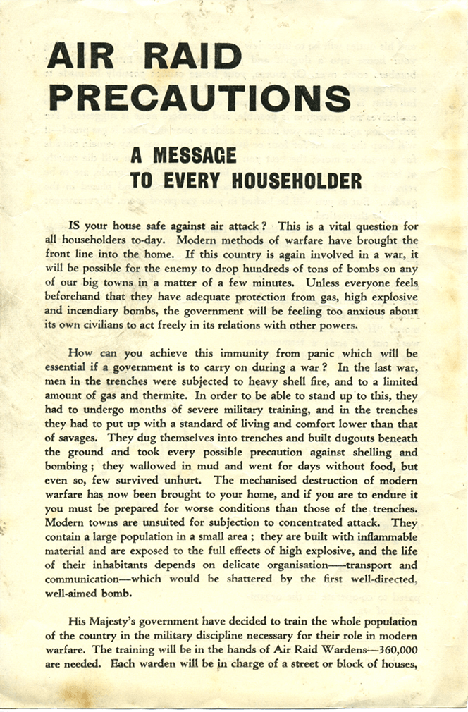 A page from a leaflet describing air raid precautions.