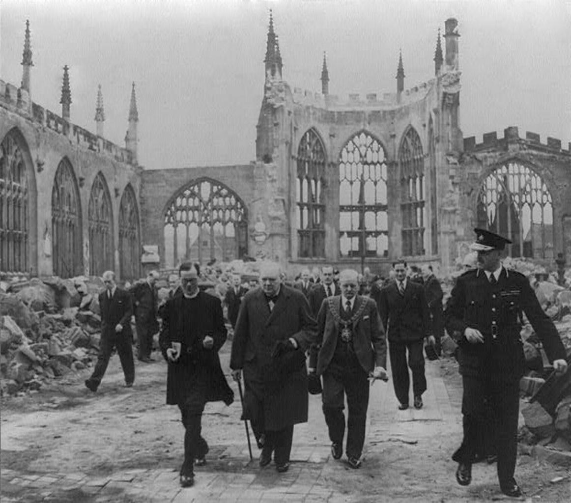 Winston Churchill visiting Coventry after it was severely damaged in The Blitz.