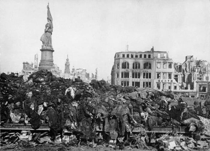 A pile of dead bodies in Dresden, Germany.