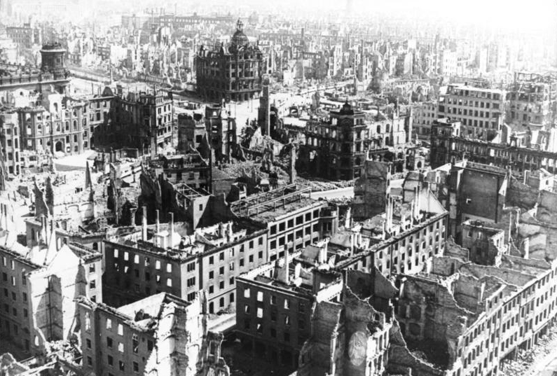 An aerial view of the destroyed streets of Dresden, Germany.