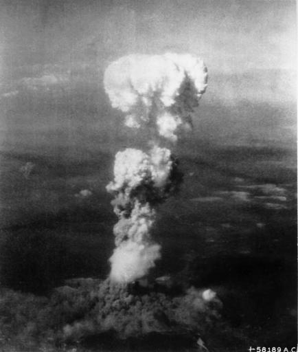 A mushroom cloud from a nuclear explosion.