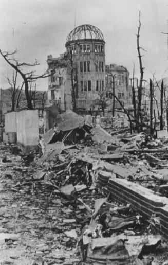 A scene of Hiroshima after it was devastated by a nuclear blast.