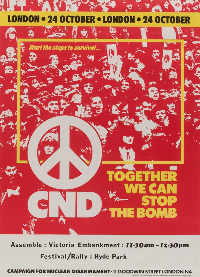 A CND poster encouraging people to protest against bombing.