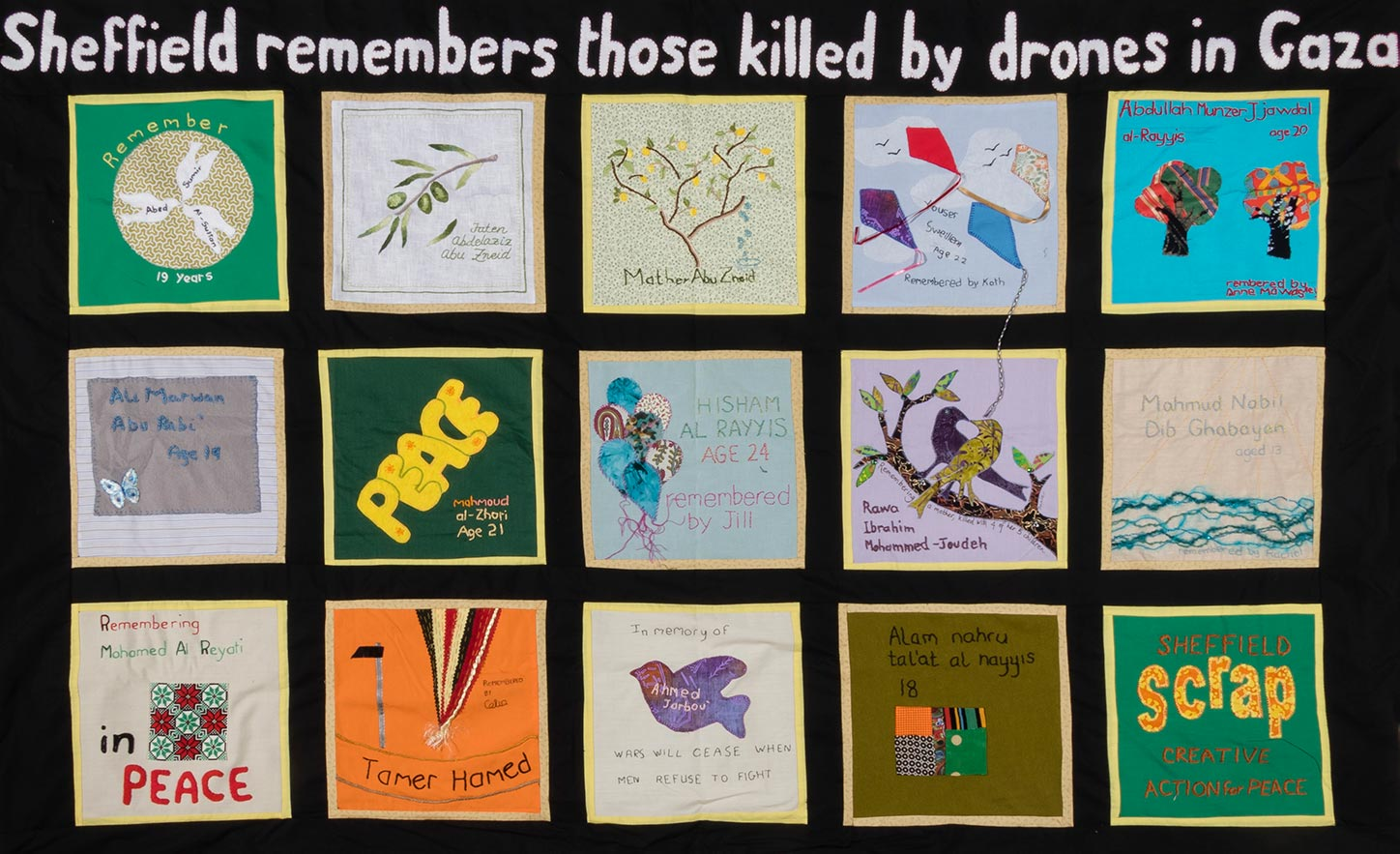 A banner made by people in Sheffield to protest the bombing of Syria.