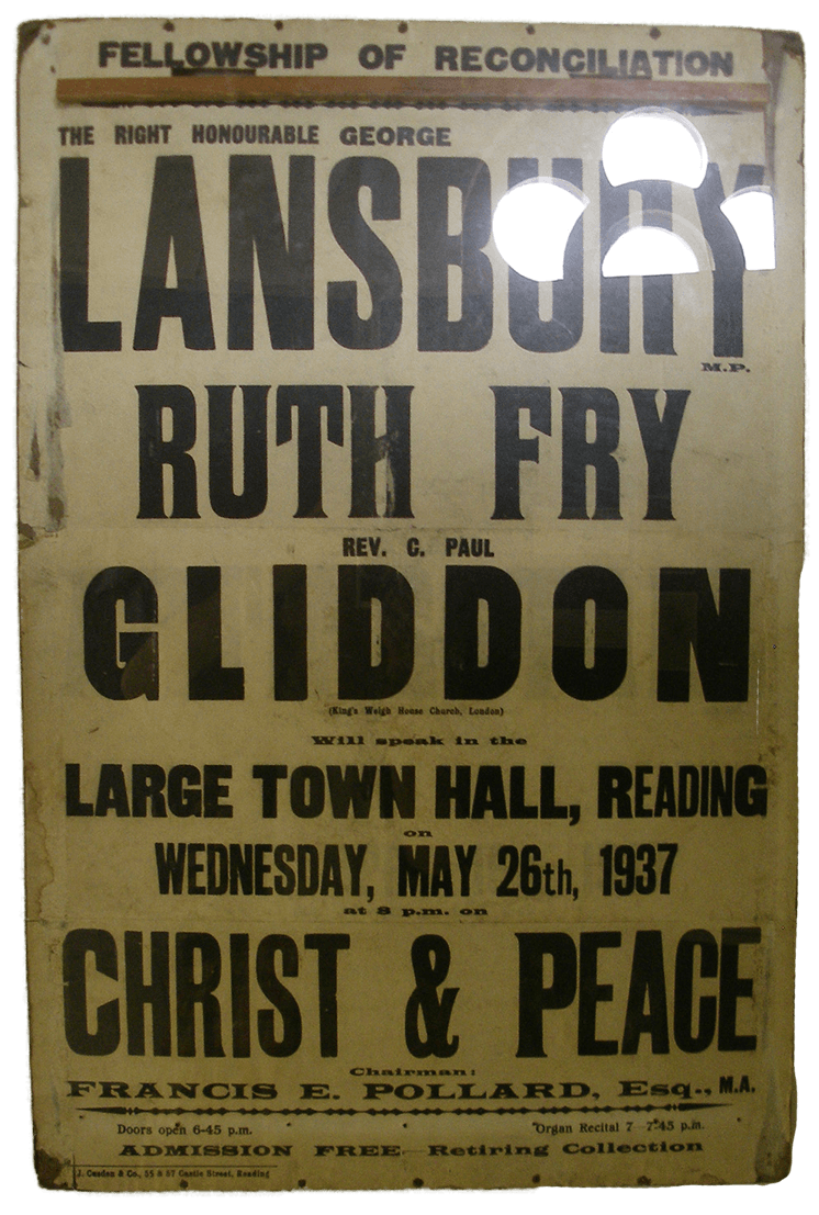 A sandwich board from the war encouraging people to attend an event in protest of the war.