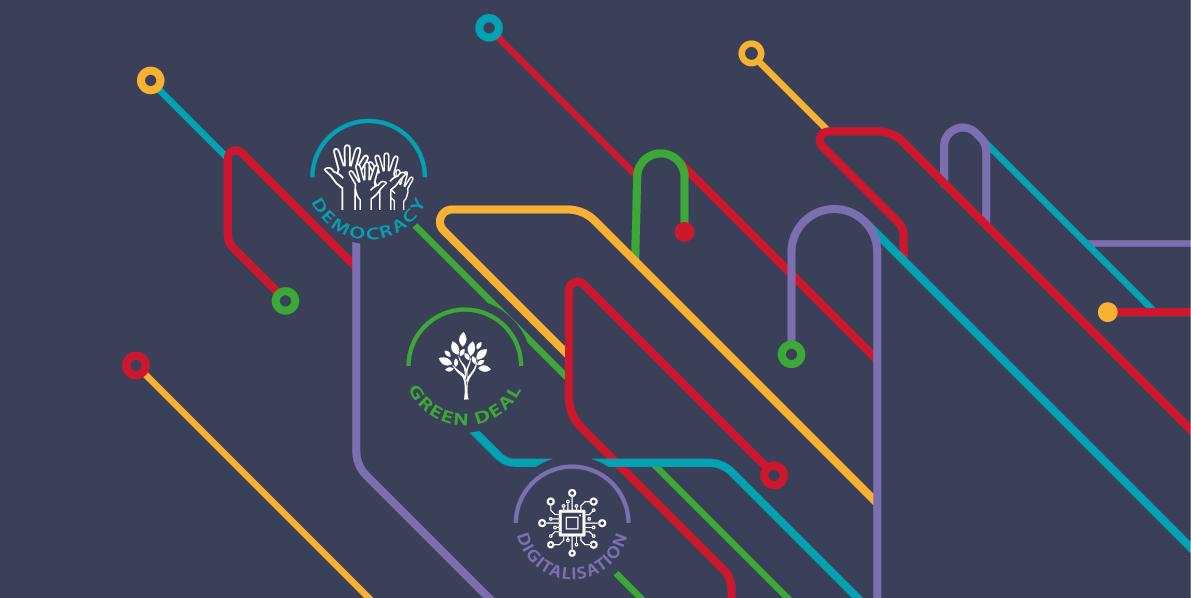 EuroPCom 2021 graphic representation on three themes: Democracy, Green Deal, and Digitalisation