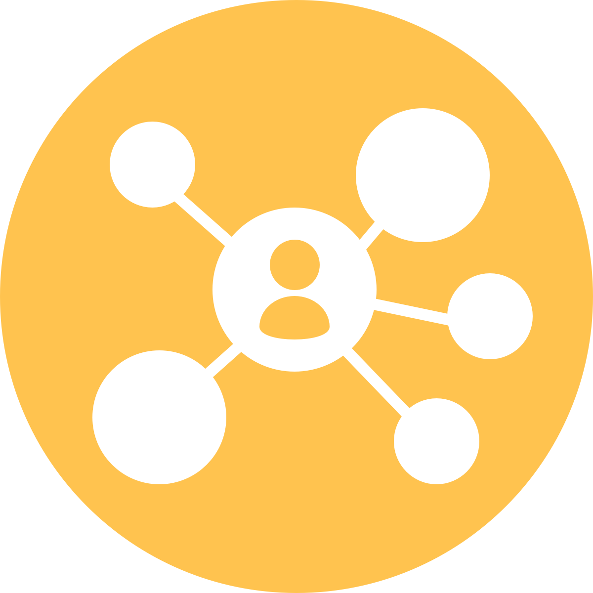 A person is in the center and surrounded by multiple circles