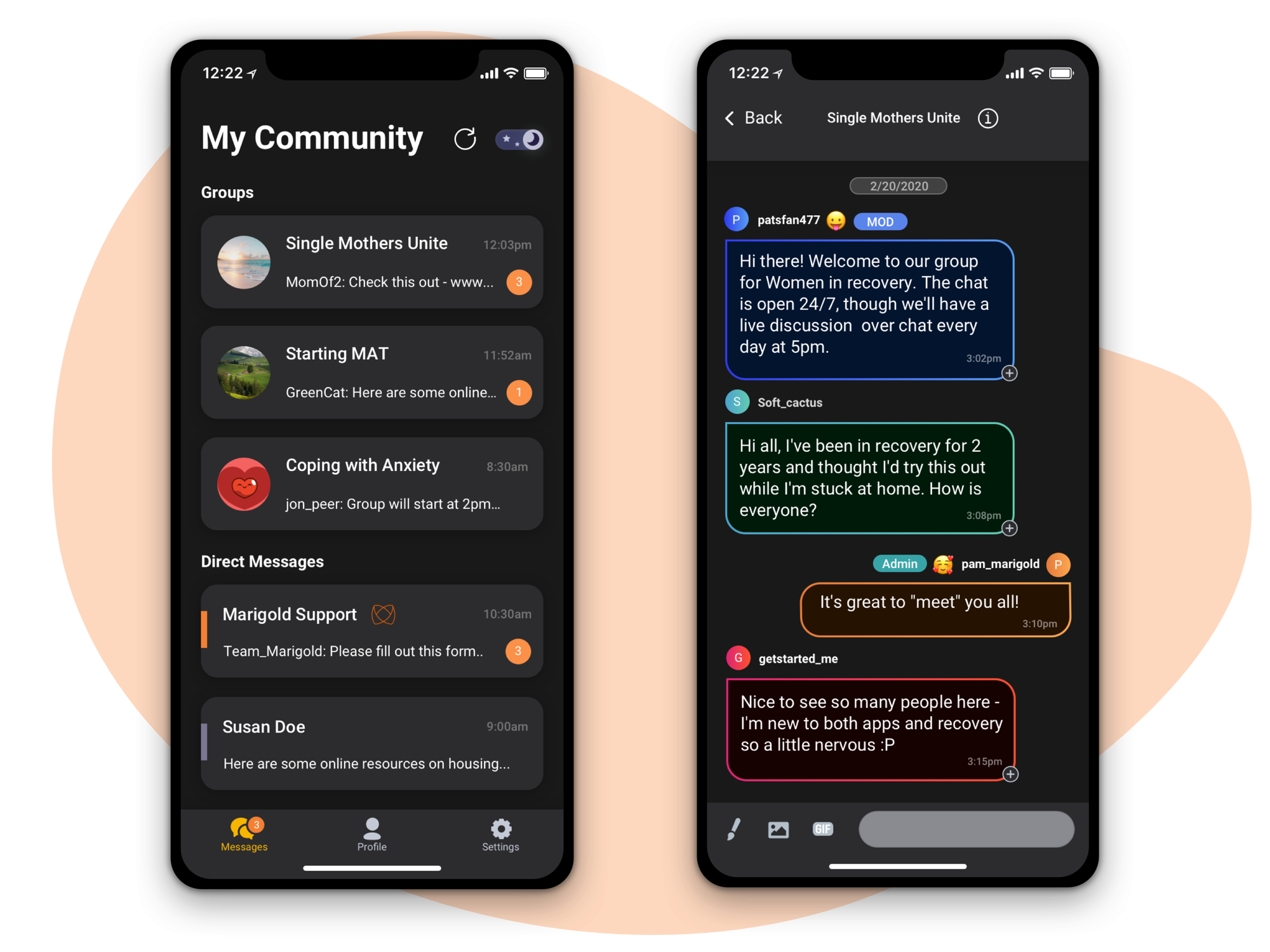 Two screenshots showing group chat