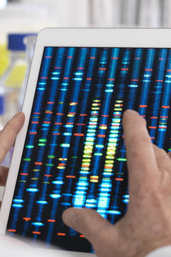 Picture - person holding iPad with genomics data shown on the screen