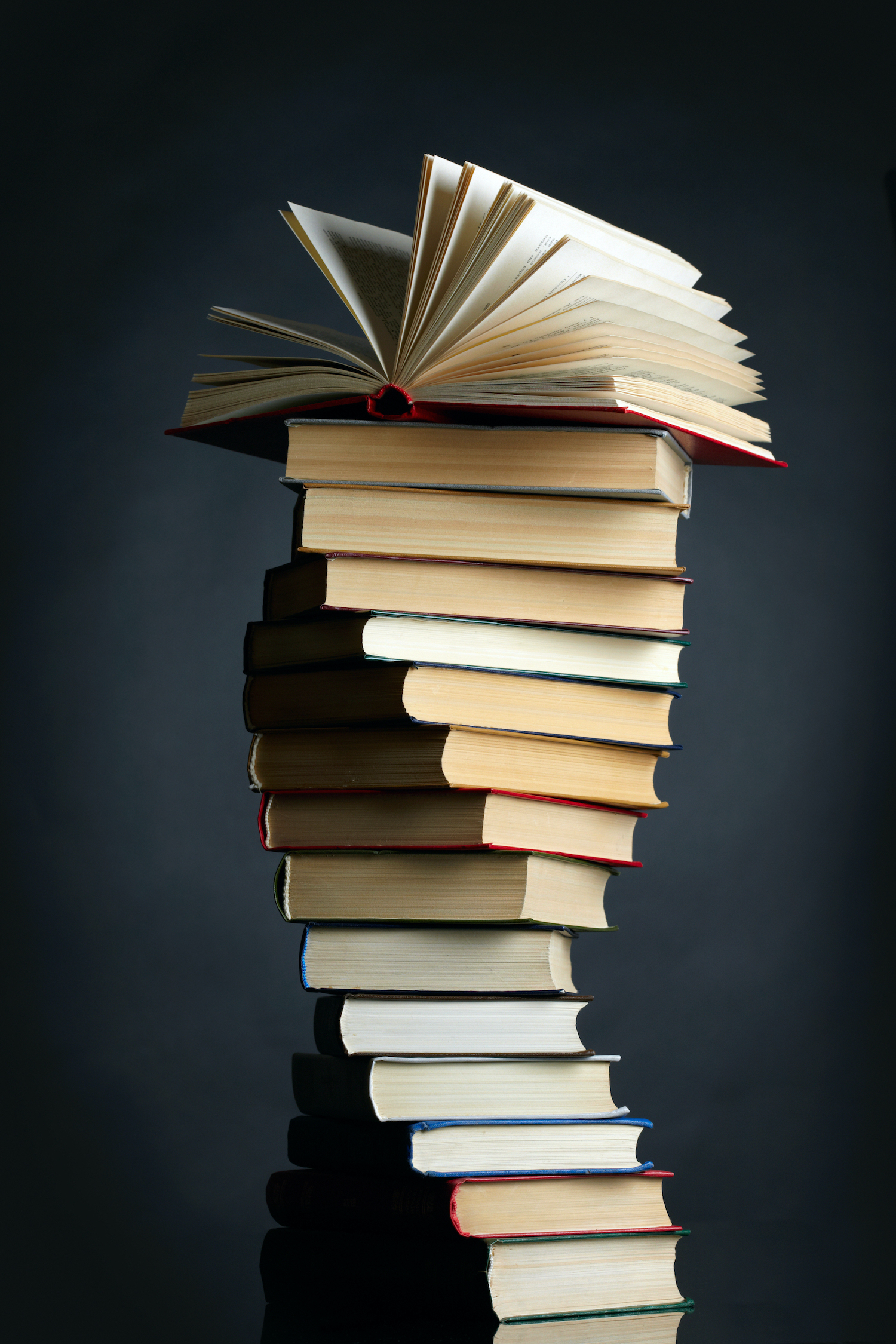 Picture - pile of books in twisted layout