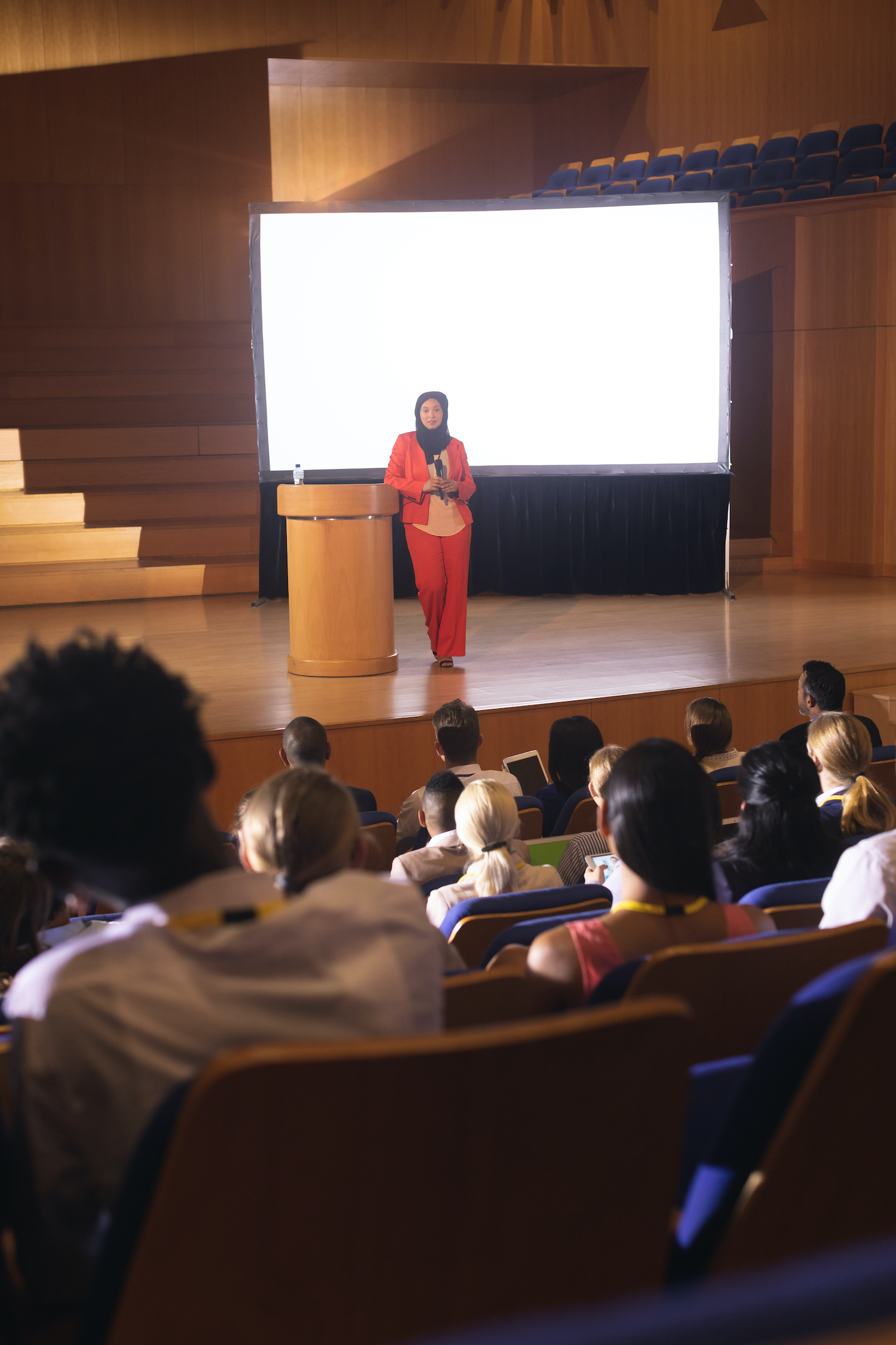 Picture - person presenting in front of an audience