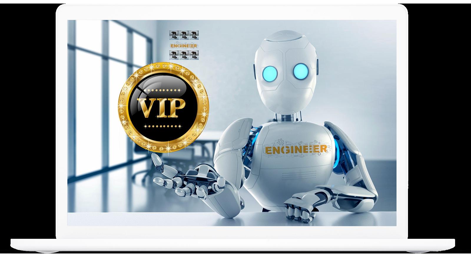 VIP Robot on a laptop